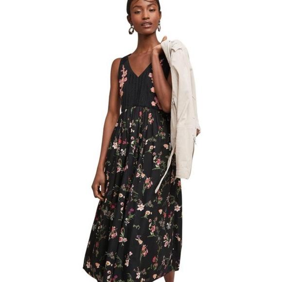 fa61853cdb00 Anthropologie Dresses | Maeve Lola Black Embroidered Floral Midi ...